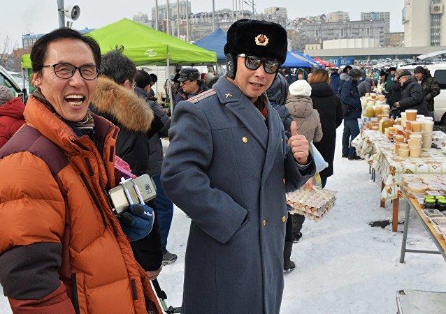 中國遊客在符拉迪沃斯托克
