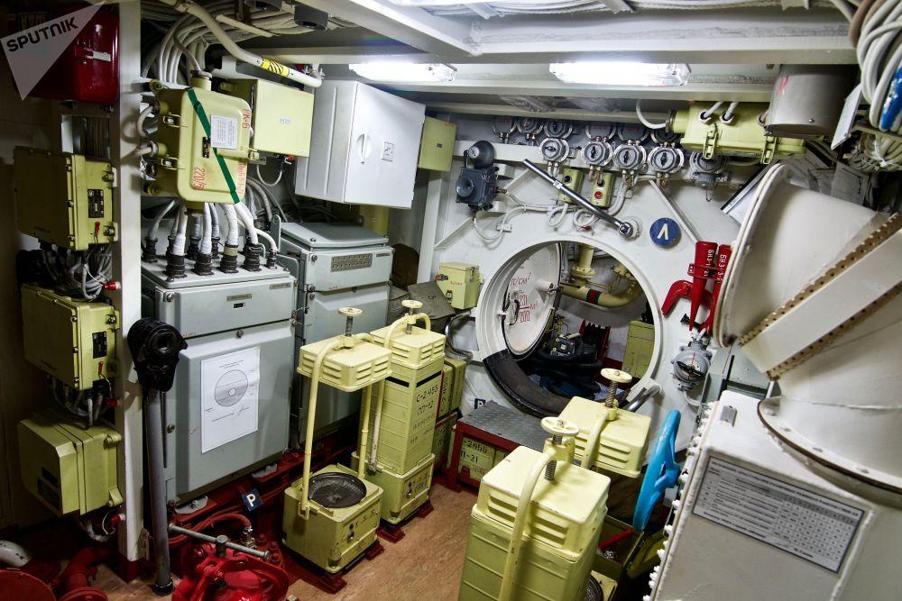 在「諾沃羅西斯克」魚雷甲板上,可以放下所有水雷、魚雷和可以消滅海上和地面目標的「克拉布」(Caliber)巡航導彈。