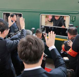 金正恩專列抵達北京火車站。