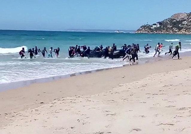 移民在西班牙沿岸