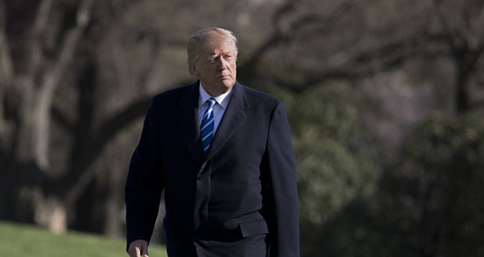 President Donald Trump walks on the South Lawn upon his return to the White House