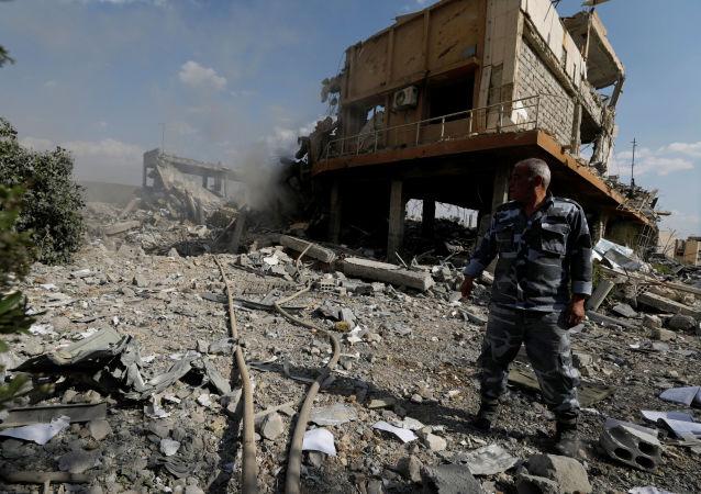 在大馬士革被美國轟炸的研究中心