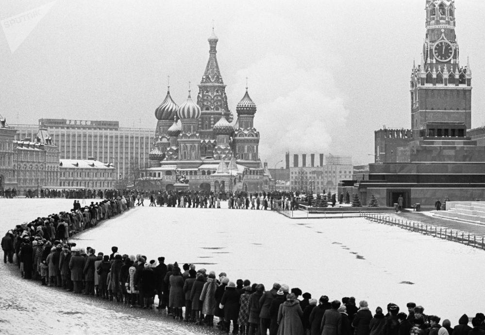 排队参观列宁墓的人