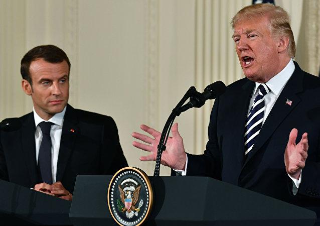 法國總統馬克龍和美國總統特朗普(資料圖片)