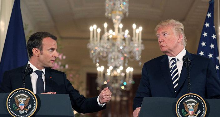 特朗普與法國總統埃馬紐埃爾·馬克龍