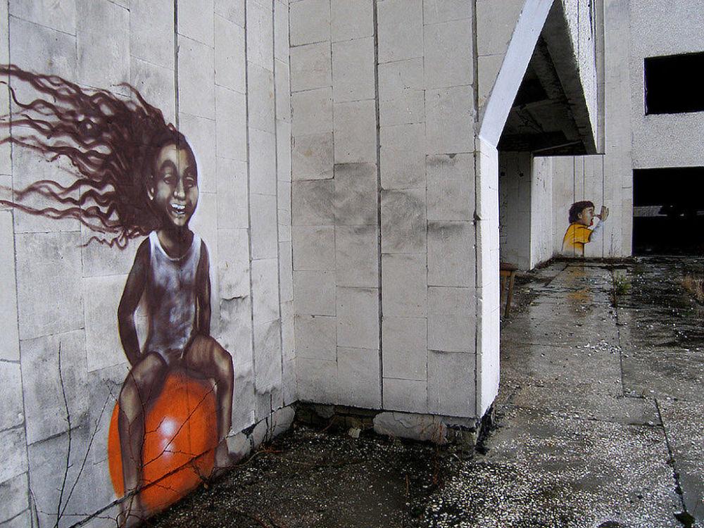 在切尔诺贝利核电站地区房子上的涂鸦