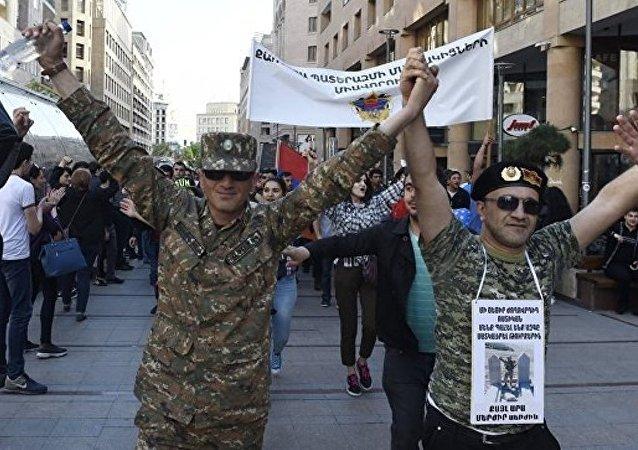 亚美尼亚示威者(资料图片)