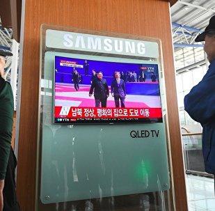 朝韓領導人抵達「和平之家」會場大樓