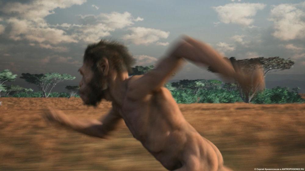 影片中纳莱迪人的步态从现代非洲布须曼人那里复制而来。 图片说明:动画片《纳莱迪人:两个世界的相遇》中的镜头(作者-谢尔盖·克里沃普里亚索夫)。