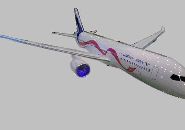 俄中聯合遠程寬體客機CR929模型亮相2018上海航展