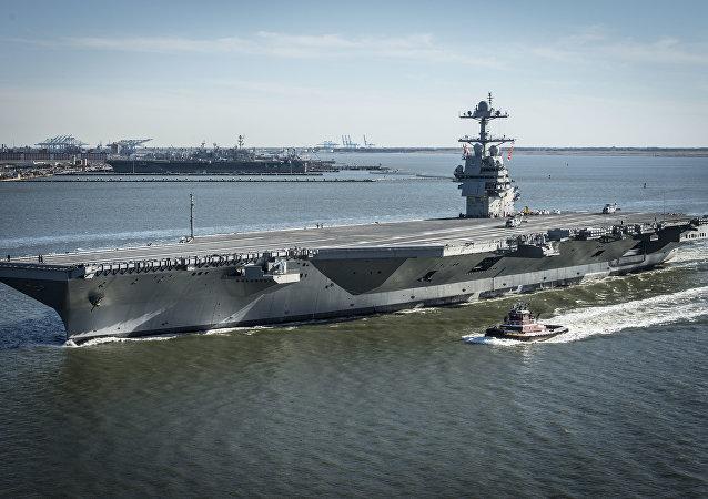 """美国新航母""""杰拉尔德·福特""""号在试验中损坏"""