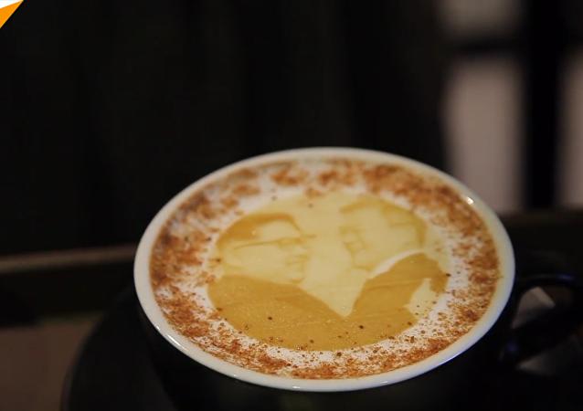 韩国咖啡厅现朝韩领导人肖像咖啡