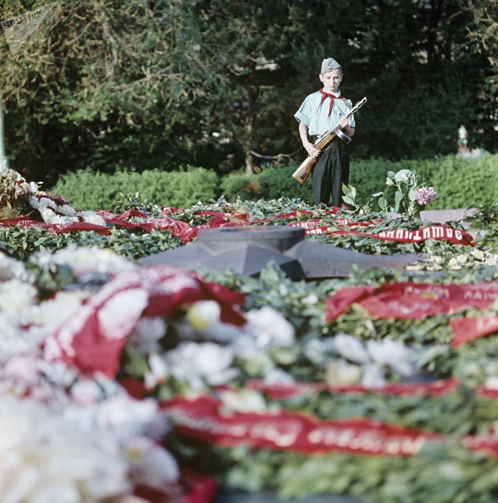 伏爾加格勒英雄林蔭道長明火旁的學生哨兵