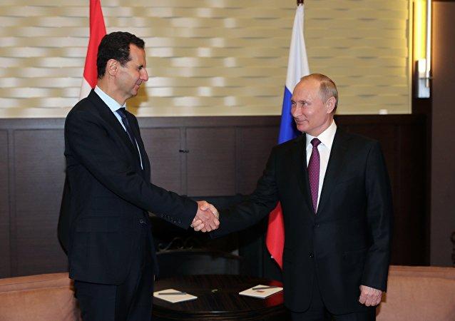 普京在索契會見阿薩德