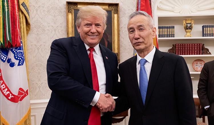 美國總統唐納德·特朗普會見中國國務院副總理劉鶴