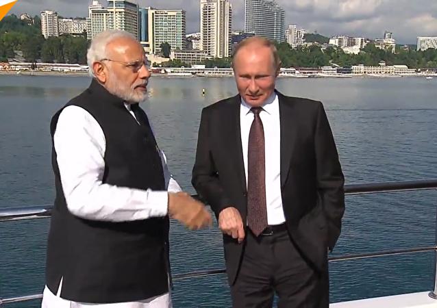 普京和莫迪索契會談後參觀民俗公園「我的俄羅斯」
