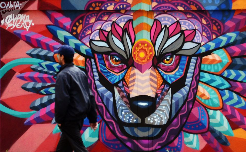 莫斯科變電室牆壁上的足球大陸藝術項目框架內的2018年世界杯主題塗鴉畫,由墨西哥藝術家Farid Rueda為即將舉辦的世界杯創作。
