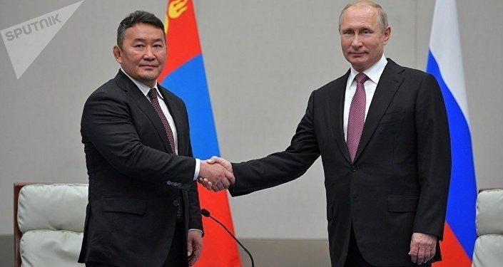 普京上合组织青岛峰会期间会见会晤蒙古国总统巴特图勒嘎