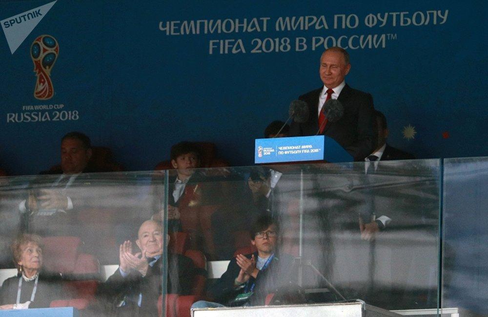 普京宣佈2018年世界杯在莫斯科正式開幕。