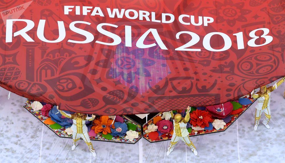 2018世界杯開幕式在莫斯科盧日尼基體育場舉行。