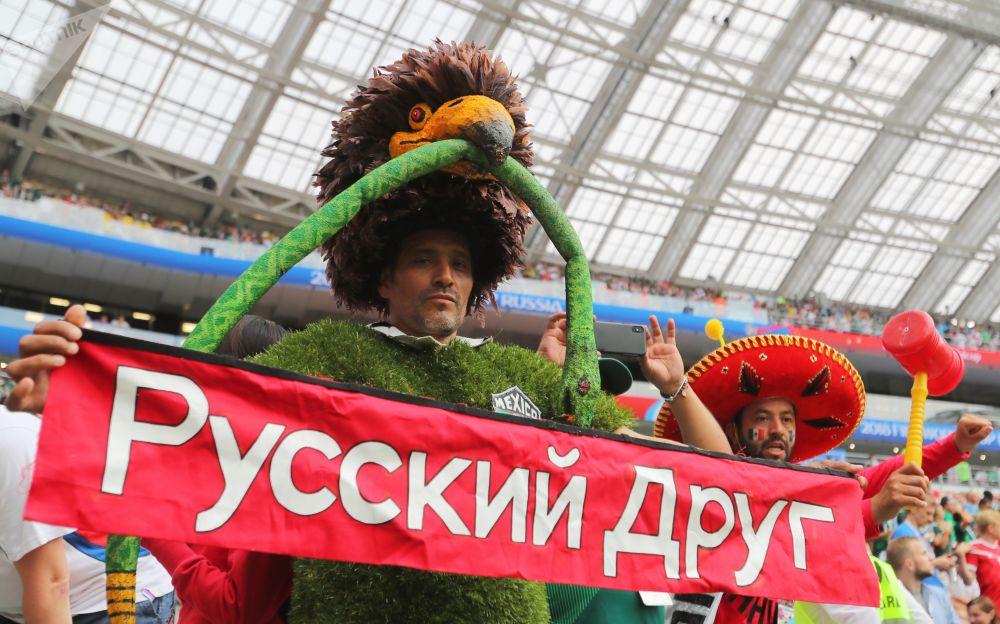 墨西哥國家隊球迷拉著「俄羅斯朋友」的橫幅