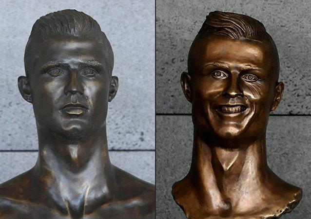 马德拉岛机场C罗半身像被换 新铜像更逼真
