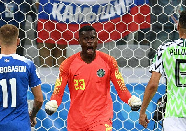 尼日利亞隊在2018年世界杯足球賽上戰勝冰島隊