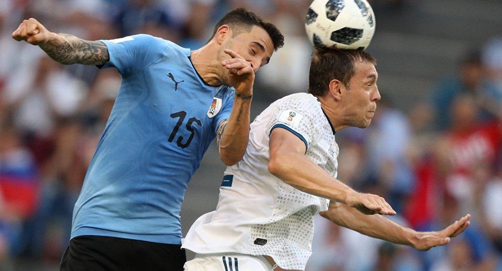 乌拉圭国家队在2018年世界杯足球赛上力克东道主