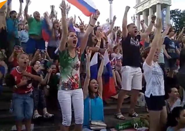俄羅斯舉國歡慶國家隊大捷