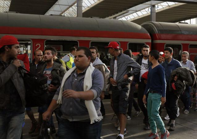 叙利亚难民在德国慕尼黑火车站