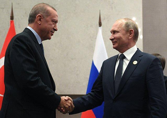 7月26日,俄罗斯总统普京和土耳其同行埃尔多安