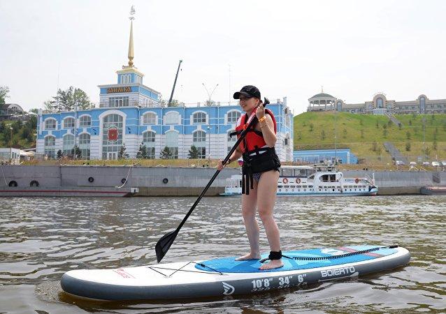 哈巴羅夫斯克市郊的「扎伊姆卡」河上客運碼頭