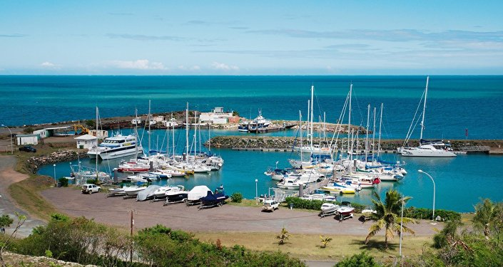 A general view shows the marina in Koumac, in the North Province of New Caledonia