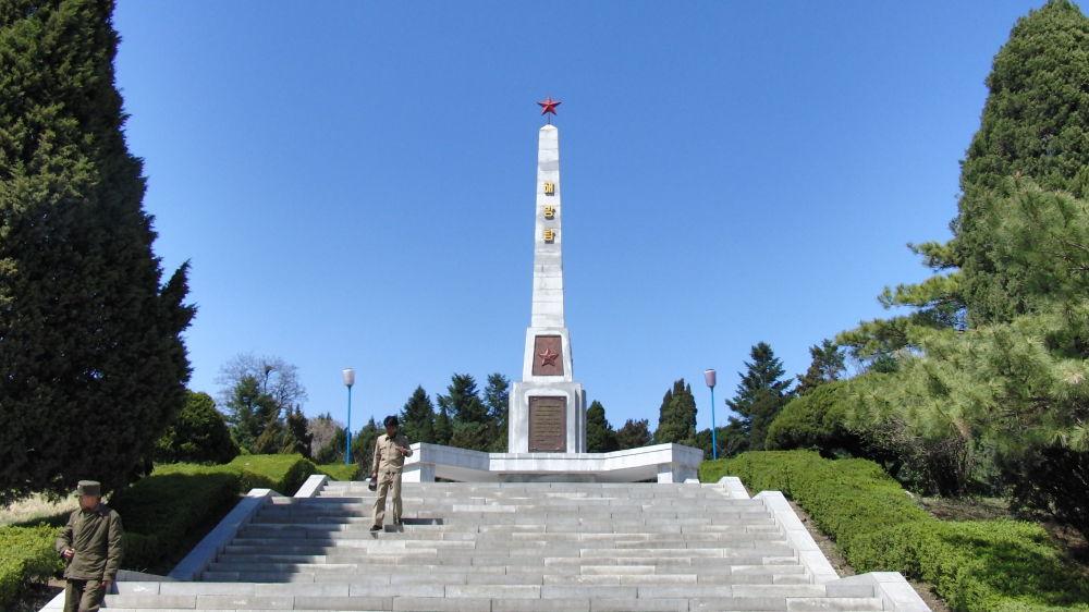 """朝鲜平壤""""解放""""纪念碑。"""