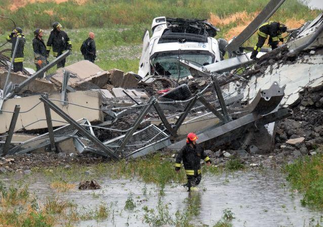 救援人员:意大利热那亚大桥垮塌造成的遇难人数已达到41人