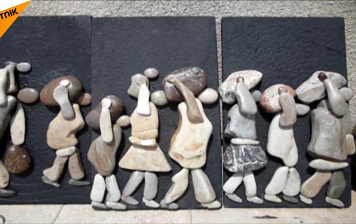 敘利亞畫家將製作礫石畫像獻給打擊恐怖主義行動時的罹難人士