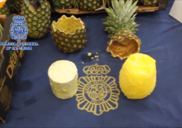 西班牙警方查獲67公斤藏在菠蘿里的可卡因