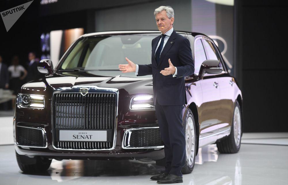 Aurus汽車公司總裁希爾格爾特•弗蘭茲•格哈特在莫斯科2018國際汽車展上。