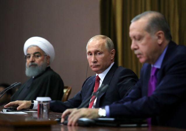 土耳其总统埃尔多安(右)、俄罗斯总统普京(中)和伊朗总统鲁哈尼
