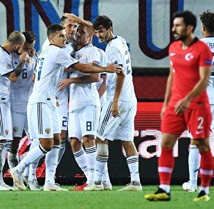 俄罗斯国家足球队在欧洲国家联赛上击败土耳其队