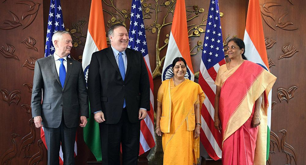 """美国和印度首次举行外长和防长""""2+2""""对话"""