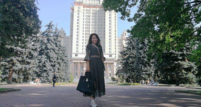 王月晗在莫斯科大學校園