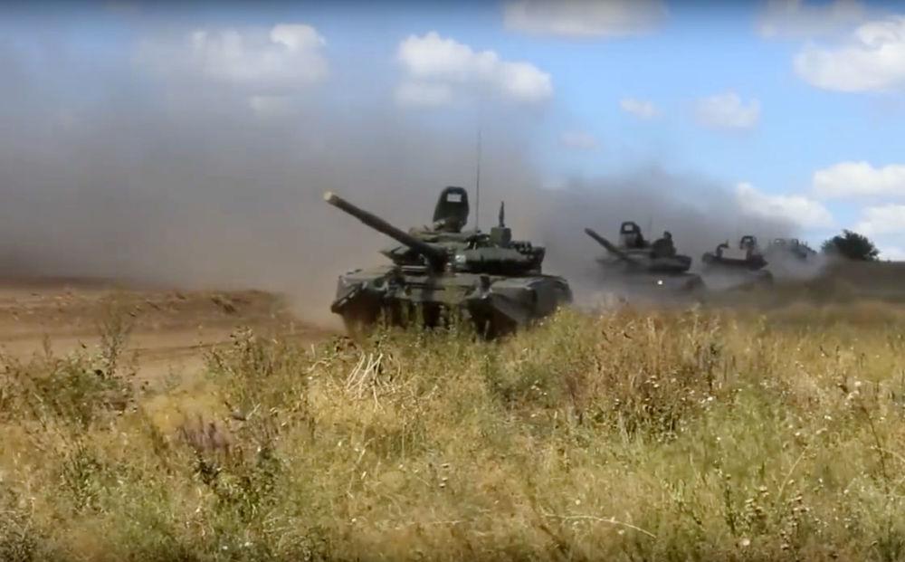 在赤塔州舉行的東方-2018演習坦克進攻演練