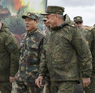 俄罗斯国防部长绍伊古在东方-2018俄中联合演习训练场与其中国同行魏凤和会面