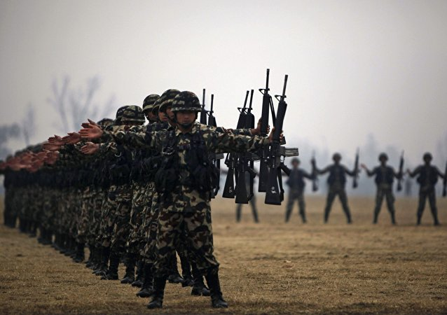 Nepal Army soldiers participate in a drill