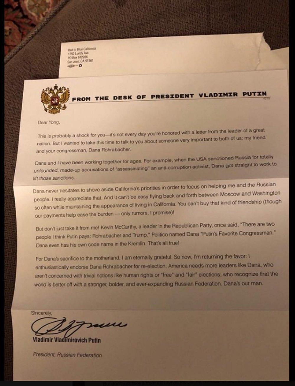 美国爆出普京支持美国众议员的假信