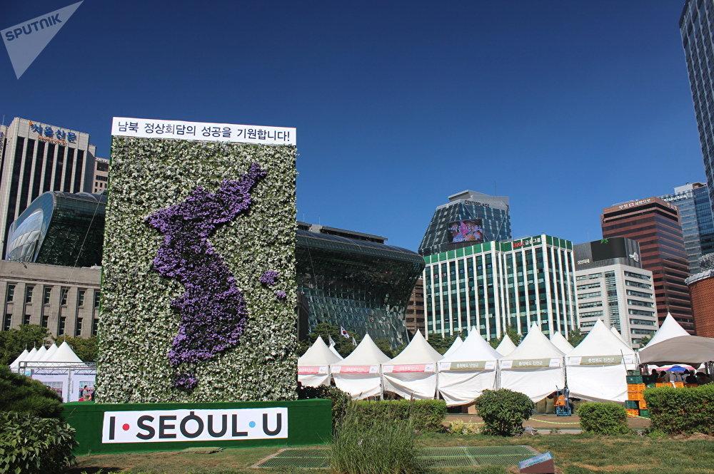 用鲜花拼成的朝鲜半岛地图