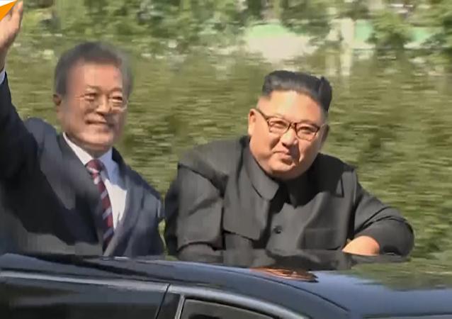 朝韓最高領導人同車巡視平壤