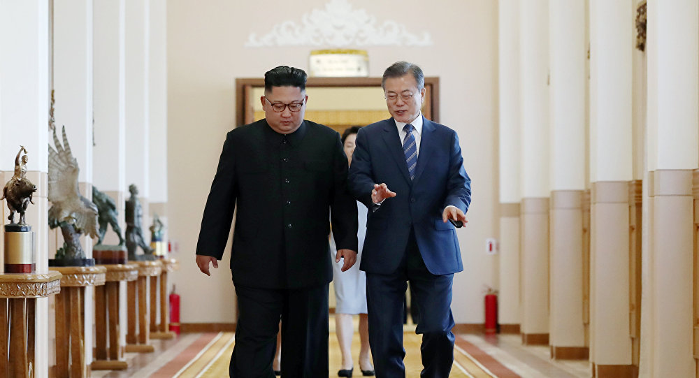 朝鮮領導人金正恩(左)和韓國總統文在寅