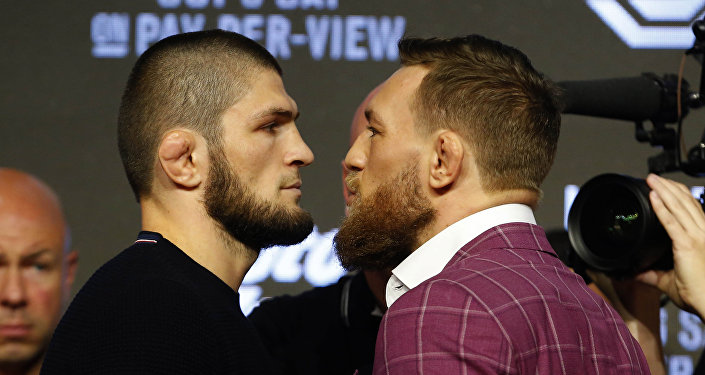 Khabib Nurmagomedov and Conor McGregor face off during a press conference for UFC 229 at Radio City Music Hall